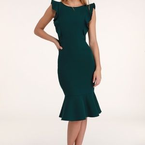 LULU'S DARK GREEN RUFFLED BODYCON MIDI DRESS